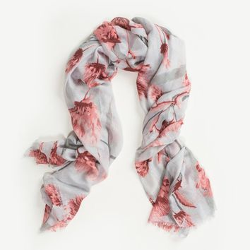 Jessica Light Blue-Grey Floral Scarf