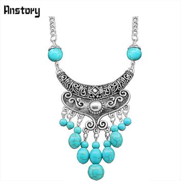 Dangle Flower Pendant Long Chain Stone Necklace For Women Vintage Antique Silver Plated  Fashion Jewelry 28 TN133