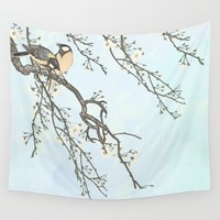 Birds and blossoms Wall Tapestry by anipani