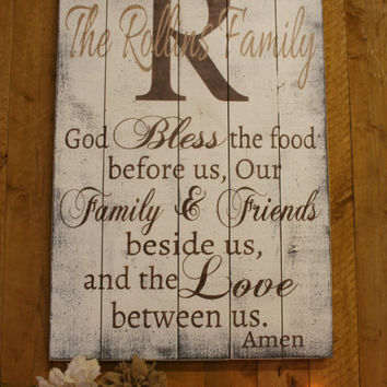 Bless The Food Pallet Sign Dining Room Decor Kitchen Decor Wedding Gift Bridal Shower Gift Housewarming Gift Christian Wall Decor Handmade