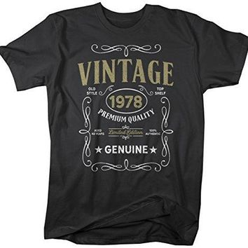 Shirts By Sarah Men's Vintage 1978 40th Birthday T-Shirt Classic Forty Gift Idea