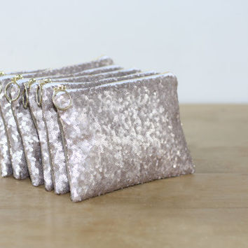 Champagne Sequins Bridesmaid Gift Set / Bachelorette Party Favors - Nude Cosmetic Clutch Fancy Ring Pull - Choose Quantity - All Over Sequin