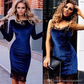 Work Coctail Spring Fashion Velvet Dress With Lace Patchwork Women Long Sleeve Slip Sexy Slim Sheath Bodycon Party Dresses DK1715LY