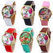 Practical Faux Leather Women Geneva Rose Flower Watch Dress Quartz Watches BEBU