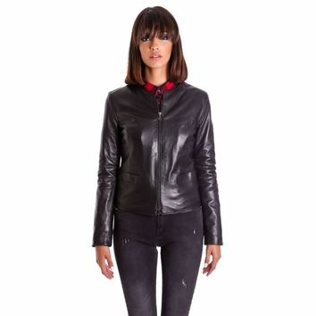 Women's Leather Jacket genuine soft leather and round neck black Clear