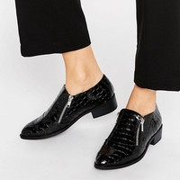 River Island Croc Effect Monk Shoe at asos.com