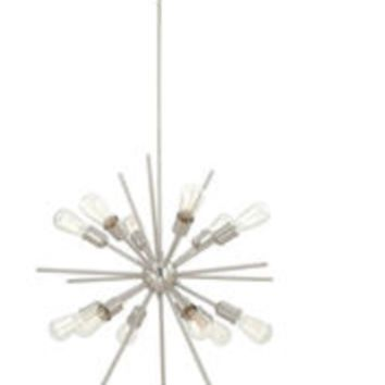 12-light 27.5'' Satin Nickel Finish Chandelier Atomic Starburst Mid Century Style