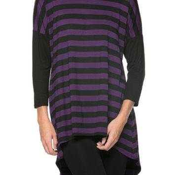 Multicolored 3/4 Dolman Sleeve Hi-Low Tunic