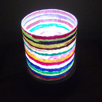 Rainbow Lamp - #lamp #handmade #homedecor  #lighting #table lamp #corner lamp #cylindrical lamp #mothersday #gift