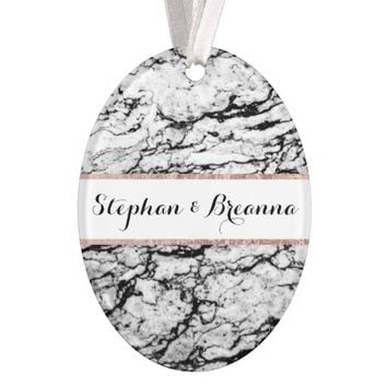 Black and White Marble Stone Monogram Ornament