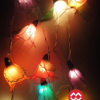 20 Mixed Rain Lilly Flower Fairy String Lights Hanging Wedding Gift Party Patio Wall Floor Garden Bedroom Home Accent Floral Decor 3m