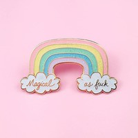 Magical AF Rainbow Enamel Pin - Iridescent Glitter