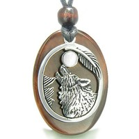 Amulet Courage Howling Wolf Moon Charm in Red Tiger Eye White Cats Eye GemstonePendant Necklace
