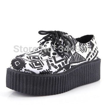 Women's Casual Flats Fashion Geometric Block Color  vintage Punk Gothic creepers Platform Shoes for Female