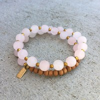 Matte Rose Quartz and Sandalwood, 'Love and Healing', 27 Bead Wrist Mala Wrap Bracelet