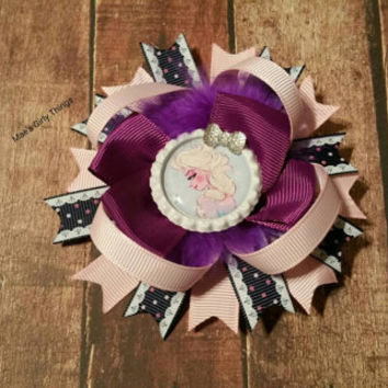 Frozen inspired hairbow - Snow Queen hairbow - ready to ship - Holiday hair bow - Christmas hair bow