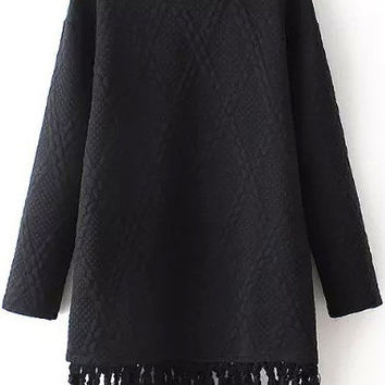 Fringed Quilted Mini Dress in Black or White