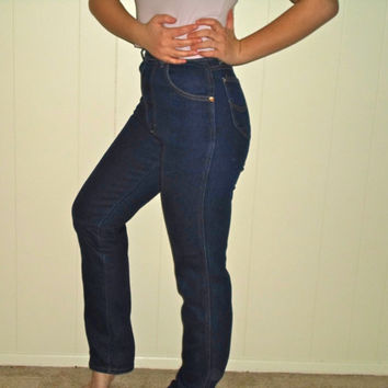 90s Dark Wash High Waist Skinny 50s Style Hip Hugger Jeans Denim