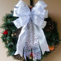 Silver Swirl Christmas Wreath Bow-Silver Decorative Christmas Bow- Wreath Bow- Tree Topper Bow-Mailbox Bow-Stair Door