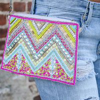 Crystal Coasts Pink Chevron Beaded & Embroidered Clutch