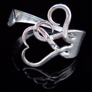Fork Bracelet, Eco Friendly Sustainable, Recycled Jewelry in Intertwining Hearts Design