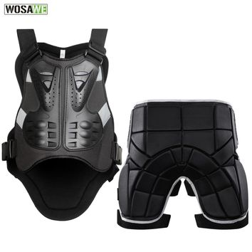 WOSAWE Motorcycle Jacket Body Protector+Shorts Pants Motocross Racing Body Armor Moto Protective Gear Skateboard Safety Guard