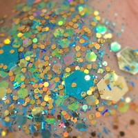 Lavish Lagoon (Chunky Loose Glitter ~6 Grams): face, makeup, hair, nail art, festival glitter, costume, unicorn, blue glitter, rave makeup