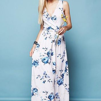 Every Morning Floral Sleeveless Maxi Dress