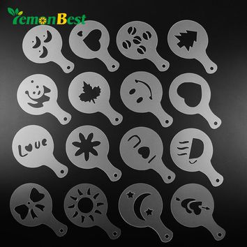 LemonBest 16Pcs Coffee Mold Milk Template Cake Cupcake Stencil Coffee Barista Cappuccino Template Strew Pad Duster Spray Tools