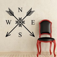Wall Decals Arrows Compass Rose Arrow Tribal Nautical Navigate Ship Ocean Sea Wall Vinyl Decal Stickers Home Decor Bedroom Murals