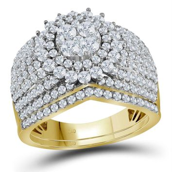 14kt Yellow Gold Women's Round Diamond Cluster Bridal Wedding Engagement Ring Band Set 2.00 Cttw - FREE Shipping (US/CAN)