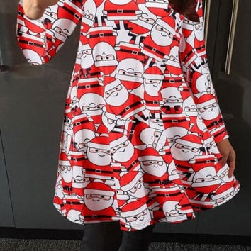 Halloween Christmas  Printed  Dress B0013691