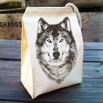 Eco Lunch Sack with WOLF woodland design, Recycled Cotton Canvas Lunch Bag with Handle, werewolf