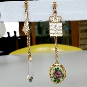 "Re Purposed Mixed Charms Locket Chain Pierced Earrings Gold Tone Locket 3-1/4"" Long Heraldic"