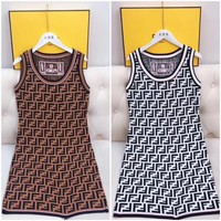 FENDI Hot Sale Women Fashion Double F Letter Sleeveless Vest Dress