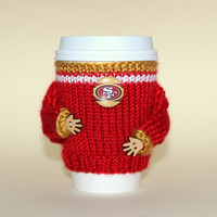 San Francisco 49ers coffee cozy. NFL California. Red gold. Knit cup sleeve Football fan travel mug cozy Office coffee Starbucks cup holder