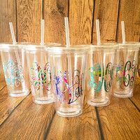 Personalized Monogram Plastic Tumbler, Bachelorette Party, Lilly Pulitzer Monogrammed Cup, Wedding Gift, Monogrammed Tumbler, Lilly Pulitzer