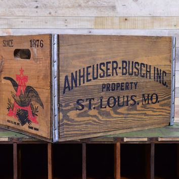 Vintage Anheuser-Busch Crate, Wood Beer Crate, Breweriana