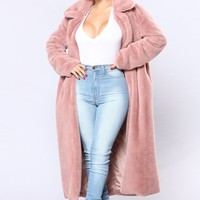 Chibi Fur Jacket - Dusty Rose