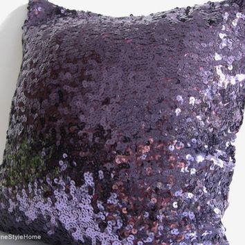 Luxury Glamour. Purple Sequins Embellished Pillow Cover. Hand Sewn Sequins.