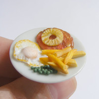 Scented or Unscented Gammon and Pineapple Miniature Food Ring - Miniature Food Jewelry,Handmade Jewelry Ring