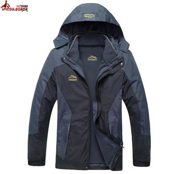 UNCO&BOROR Big size L~6XL,7XL,8XL outwear Waterproof Windproof Breathable Warm Jacket Winter Men Coat parka 2 in 1 set Clothing