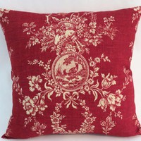 """Red Toile Pillow, Waverly Country House Rouge, 19"""" Square with Ticking Stripe Back, Cream Bird Cameo Floral Fruit, Cover Only / Insert Incl."""