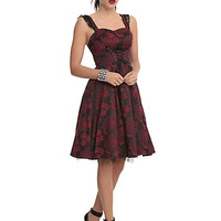 Red & Black Brocade Lace-Up Dress