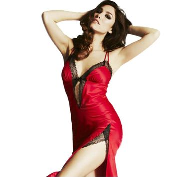 Amazing Ladies Sexy Lingerie Nightgown Lace Strap Pajamas