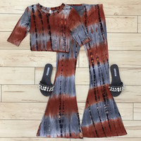 2 Piece Tie Dye Midi Sleeve Crop Top & Bell Bottom Pants Set {Burnt Orange/Gray}