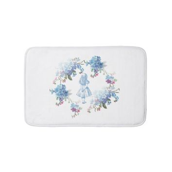 Alice in Wonderland Blue Floral Bath Rug