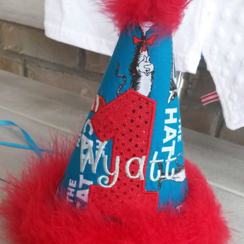 Custom Embroidered Party Hat - Birthday Hat - Cat in the Hat Birthday