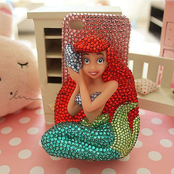 Super Big Crystal Mermaid Iphone case,3D Aquamarine iphone 4 case,cute iphone 4 case,cute iphone 5 case,bling iphone 4s case