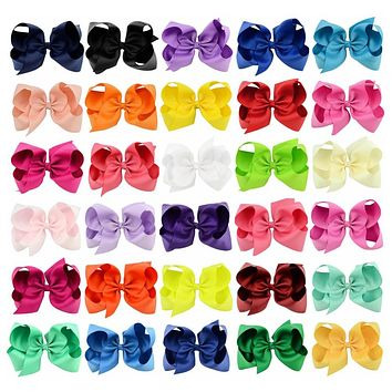 "30PCS/LOT 6"" Big Hair Bow Girls Solid Ribbon Hair Bows With Clip Boutique Hair Accessories Kids Hairpin 588"